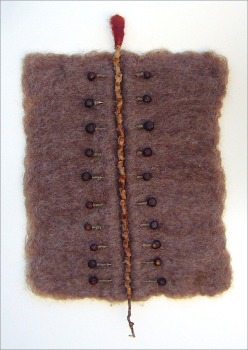 """Hochhauser   """"A216 Wax Stitch""""   Felt and mixed media   12.75 x 8.25 x 1 in."""