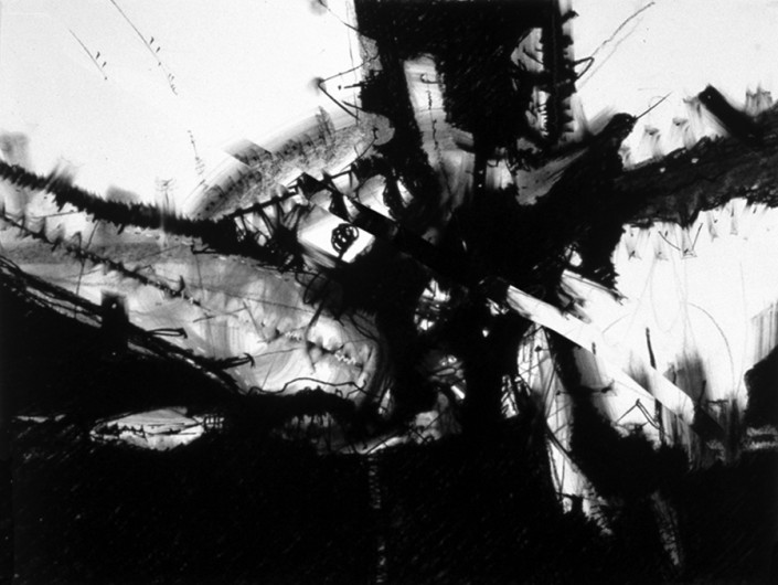 """Hochhauser   """"D159 Cross Pull""""   Charcoal on paper   30 x 40 in."""