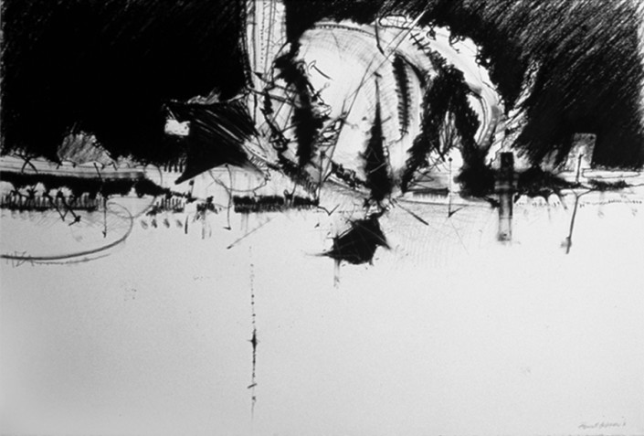 """Hochhauser   """"D170 Anthropogustus""""   Charcoal on paper   30 x 44 in."""