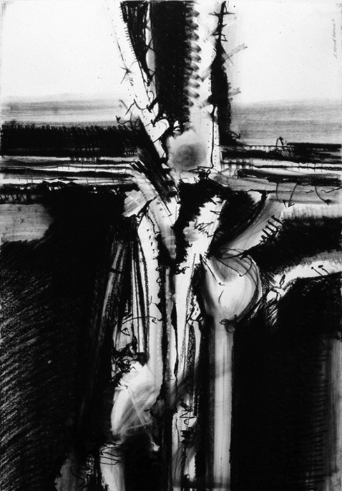 """Hochhauser   """"D171 Anthropogustus""""   Charcoal on paper   44 x 30 in."""