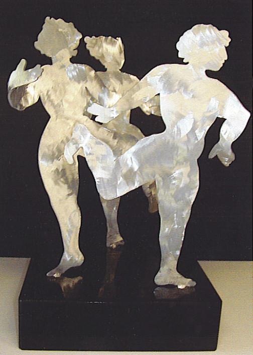 """Hochhauser   """"S180 Dancing Girls Three""""   White brushed aluminum and patina rotating figures on marble base   22 x 25 x 25 in."""