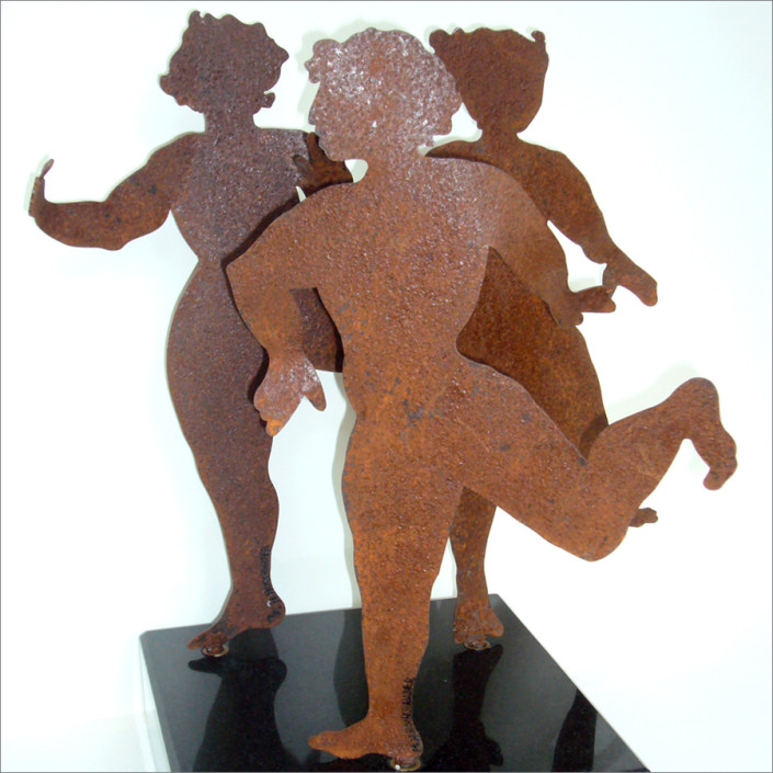 """Hochhauser   """"S178 Dancing Girls One""""   Rusted metal rotating figures on marble base   22 x 25 x 25 in."""