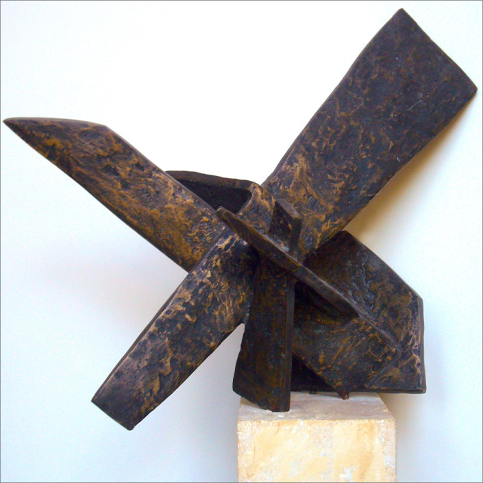 """Hochhauser   """"S182 Ascending""""   Textured bronze patina on stone base   19 x14 x 8 in   19 x 14 x 8 in."""
