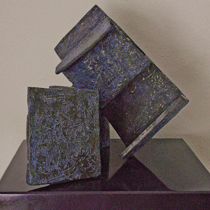 """Hochhauser   """"S183 Structural""""   Bronze textured patina on stone base  14 x 12 x 12 in."""