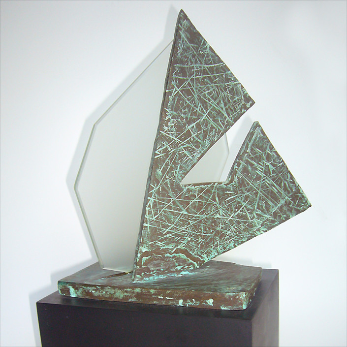 """Hochhauser   """"S184 Scan Shapes""""   Textured bronze patina and frosted glass on stone base   15 x 8 x 6 in"""