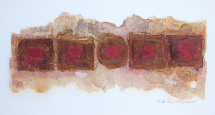 """Hochhauser   """"A234 Five Teabags""""   Handmade paper, teabags, mixed media   14.75 x 6 x 1 in."""